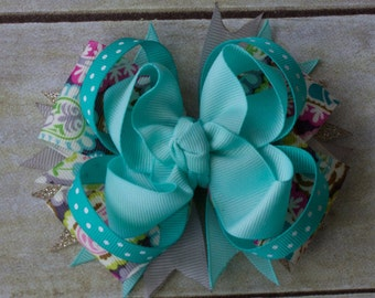 Stacked Boutique Paisley & Teal Hair Bow