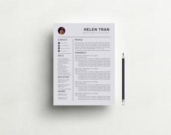 Resume Template with Photo Professional Resume Design CV