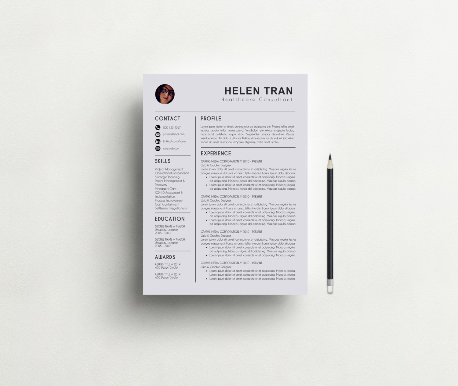 resume template with photo cv template cover by resumebook