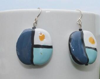 earrings - Kazuri beads