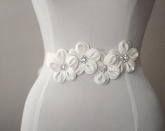 Ivory taffeta flowers wedding dress belt / sash
