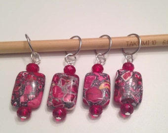 Red Stone and Bead Knitting Stitch Markers Set of 4
