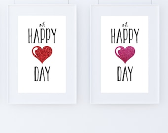 Oh Happy Day! Glitter Heart Print 8 x 10 Red and Pink