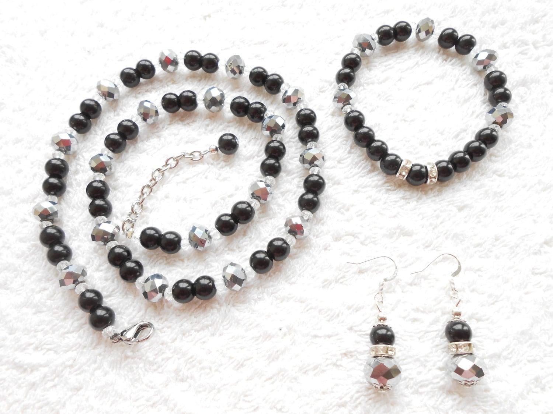 black pearl jewelry set black pearl necklace bracelet. Black Bedroom Furniture Sets. Home Design Ideas