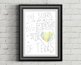 Deep in the Heart of Texas | Hand Type | Art Print