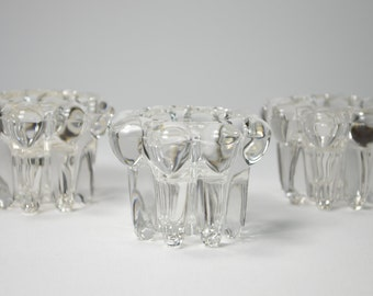 3 candle holder REIMS France glass chandeliers pressed Portapalmatorias