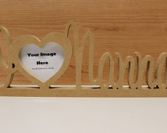 I love Heart Wooden Photo Frame, RAW Unpainted, Personalised Wooden Photo Frame, Custom wooden gift 12mm thick MDF Ready to Decorate