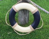 Blue Vintage Nautical Life Ring - Cream and Blue - Nautical decor, beach decor lifering, antique nautical, Choose Size