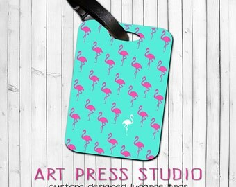 Pink Flamingo Luggage Tag, Neon Pink Flamingos on Turquoise Bag Tags, Personalized Flamingo Tag, Summer Camp Tag, Backpack Tags