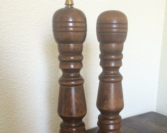 Mid-Century Oversized Turned Wood Salt and Pepper Set with Gold Accent