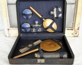 Art Deco Blue and Gold Eight Piece Travel Vanity Set