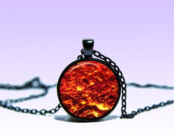 Volcanic lava Pendant Magma NECKLACE Vulcan Jewelery Charm Pendant for Him or Her
