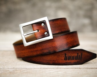Suit leather belt custom patina - made by Bandit