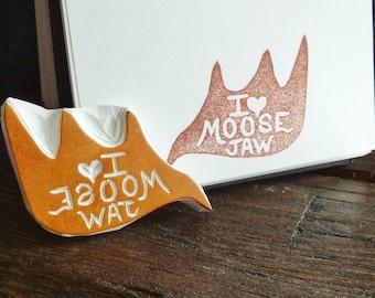 I <3 Moose Jaw - hand carved stamp, city stamp, Canadiana stamp, city pride