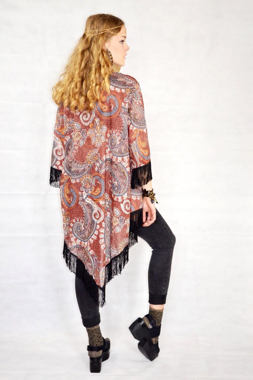 boho kimono robe hippie paisley kimono fringe cardigan by kimonoo. Black Bedroom Furniture Sets. Home Design Ideas