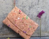WILDFLOWER// Coloured Cork Wallet Purse Minimalist Wallet Clutch Handcrafted natural material goods Tri-fold Wallet