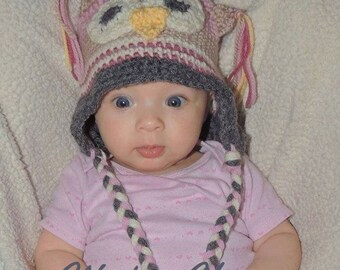 owl beanie for girl, owl beanie for boy, owl beanie for baby, baby beanie,