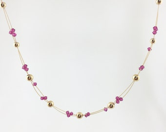 Gold-Filled & Fuchsia Swarovski Crystal Necklace