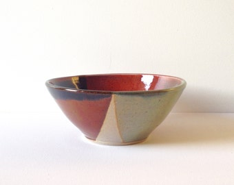 Handmade stoneware large salad or soup bowl. Celadon and red. Ceramic #EarthandClays