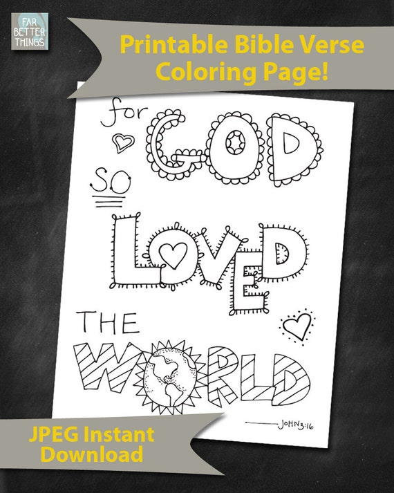 Items similar to bible verse coloring page for god so for For god so loved the world coloring page
