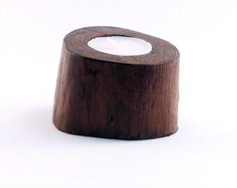 Wooden eucalyptus tree varnished candle holder