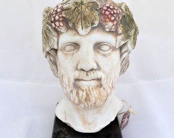 Dionysus God of winemaking and wine sculpture statue bust