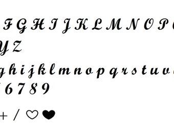 Full Script Alphabet, Numbers and Symbols