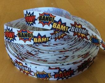 "Comic Book Grosgrain Ribbon - 7/8"", Pow, Bam, Bang, Boom Ribbon"