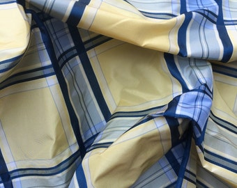 Blue and Yellow Plaid Silk Taffeta Fabric by the Yard - Design - Drapery - Home Decor
