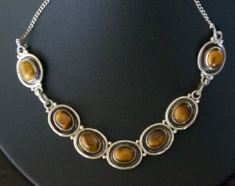Exquisite TIGER'S EYE Silver Necklace