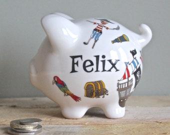 Personalised Piggy Bank for Boys Pirates Design / Birthday Gift for Boys / Boys Christening Gift
