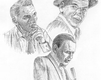Sinatra pencil drawing showing 3 stages of his life as Old Blue Eyes. Limited Edition Print
