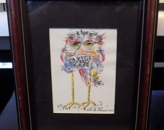 Owl not too smart. Original watercolor and ink.