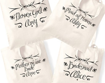 wedding gift tote bag bridesmaid flower girl maid of honour personalised thank you marriage engagement announcement invitation gift 158