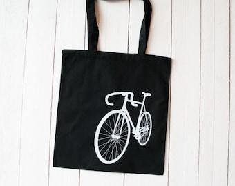 "Tote bag ""Bike"", printing white on black"