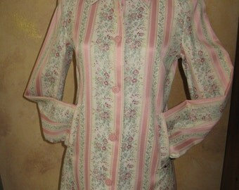 Womens Small Vintage Peach stripe & floral tapestry thigh-length jacket (NWT - never worn)