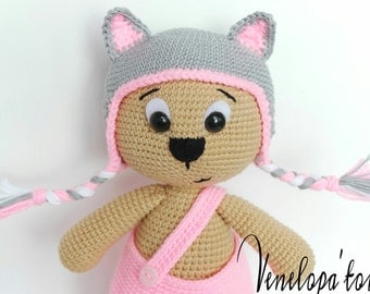 """PATTERN """"Bear with Cat cap"""""""