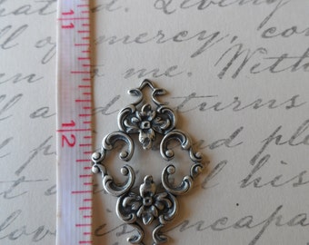 Filigree 4-Way Connectors 26x20mm Oxidized Silver