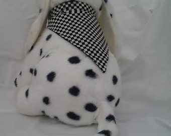SMALL Reversible Dog Visor and Scarf Set Black & White Checkers/Black with White Stitching