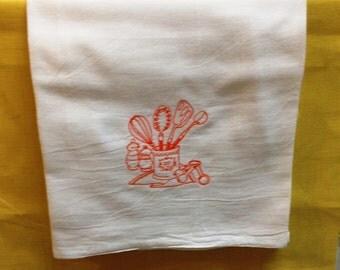 Flour Sack Towel with Orange Embroidery