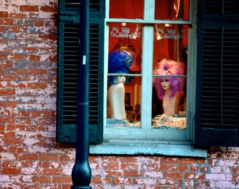 A Couple of Big-Wigs - New Orleans - French Quarter - Window - fine art print