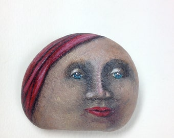 Painted Rock Face with Red Head Wrap