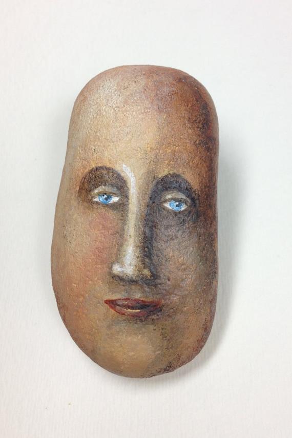 Natural Rock Faces : Hand painted natural rock face