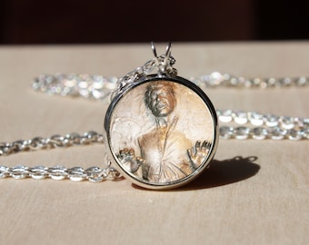 Handmade Han Solo frozen in carbonite Necklace, Glass dome Pendant, gift for Her Him, nekel free jewelry