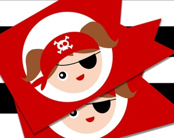 Printable Pirate Party Flags for Girls