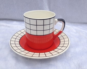 Vintage Retro Granit Made In Hungary Set Cup And Saucer Retro Tea Set Retro Red Tea Cup And Saucer Retro Design