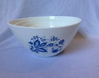 Vintage Arcopal France Bowl  Set Of 5 Blue White