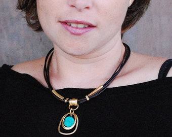Necklace Turquoise Stone, Pendant Necklace Gold Turquoise Necklace, Multi leather necklace, Brown Leather, gift for her, Free Shipping