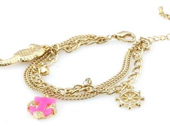 Nautical Charm Bracelet (Beach Ocean Anchor Seahorse Fashion Jewelry RSB1111)