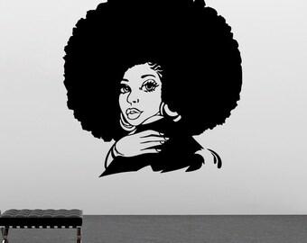 Girl Wall Vinyl Decal African Girl Wall Vinyl Sticker Home Decor (12angl)
